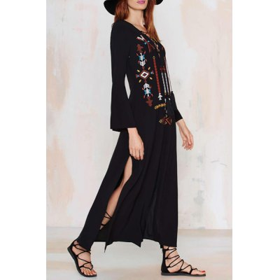 Vintage Lace-Up V-Neck Embroidered Pendant Design Slit Maxi Dress For WomenWomens Dresses<br>Vintage Lace-Up V-Neck Embroidered Pendant Design Slit Maxi Dress For Women<br><br>Style: Vintage<br>Material: Polyester<br>Silhouette : A-Line<br>Dresses Length: Ankle-Length<br>Neckline: V-Neck<br>Sleeve Length: Long Sleeves<br>Embellishment: Embroidery<br>Pattern Type: Others<br>With Belt: No<br>Season: Fall<br>Weight: 0.39KG<br>Package Contents: 1 x Dress