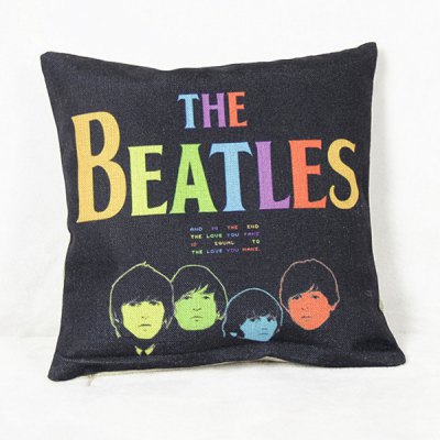 Fashion The Beatles Pattern Square Decorative Pillowcase(Without Pillow Inner)