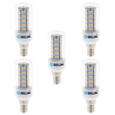 5PCS BRELONG E14 5W SMD 5730 500Lm LED Corn BulbLED Light Bulbs<br>5PCS BRELONG E14 5W SMD 5730 500Lm LED Corn Bulb<br><br>Brand : BRELONG<br>Base Type: E14, G9, E27<br>Type: Corn Bulbs<br>Output Power: 5W<br>Emitter Types: SMD 5730<br>Total Emitters: 36<br>Luminous Flux: 500Lm<br>CCT/Wavelength: 3000-3500K, 6000-6500K<br>Voltage (V): AC 220-240<br>Features: Long Life Expectancy, Low Power Consumption<br>Available Light Color: Warm White, White<br>Product Weight: 0.150 kg<br>Package Weight: 0.230 kg<br>Product Size (L x W x H): 9.7 x 3 x 3 cm / 3.81 x 1.18 x 1.18 inches<br>Package Size (L x W x H): 10.7 x 9.9 x 6.6 cm / 4.21 x 3.89 x 2.59 inches<br>Package Contents: 5 x BRELONG 5W LED Corn Bulb