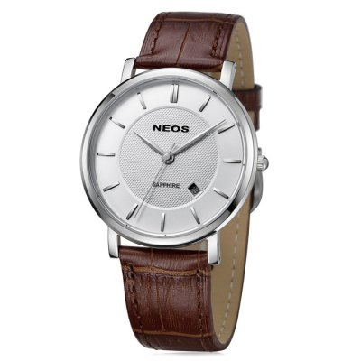 NEOS 40676G Date Function Men Sapphire Mirror Japan Quartz Watch
