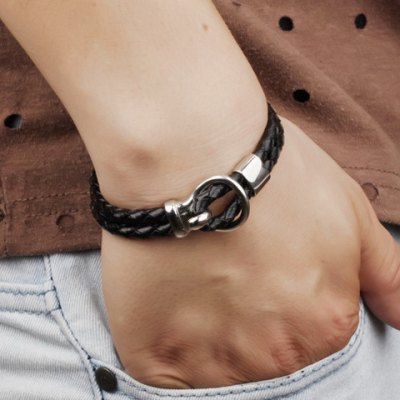 Trendy Double-Layered Faux Leather Bracelet For Men