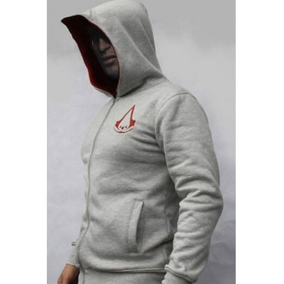 Гаджет   Hot Sale Personality Hooded Color Spliced Embroidered Design Slimming Men