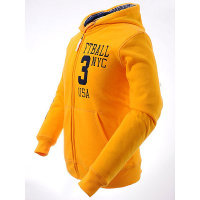 Гаджет   Rib Spliced Letters Embroidered Front Pocket Slimming Drawstring Hooded Long Sleeves Men