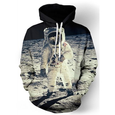 Vogue Loose Fit Drawstring Hooded 3D Astronauts On Space Print Front Pocket Men's Long Sleeves Hoodie