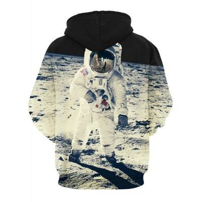 Гаджет   Vogue Loose Fit Drawstring Hooded 3D Astronauts On Space Print Front Pocket Men