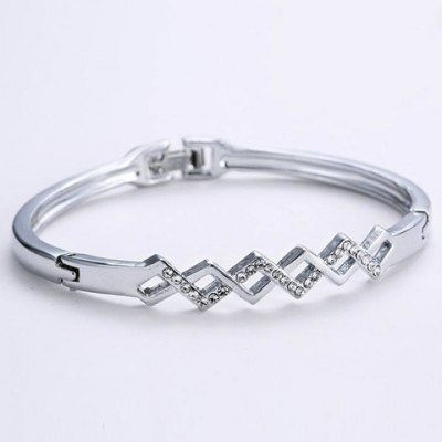Chic Rhinestone Hollow Out Rhombus Bracelet For Women
