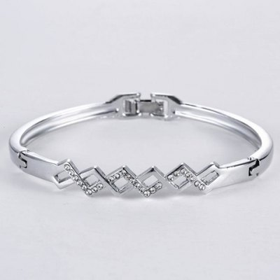Rhinestone Hollow Out Rhombus Bracelet