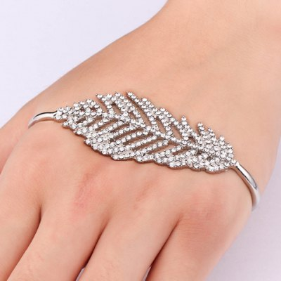 Chic Rhinestoned Leaf Palm Bracelet For Women