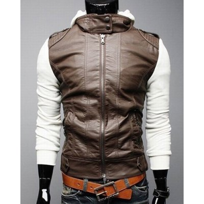 Гаджет   Vogue Hooded Color Spliced Multi-Zipper Epaulet Design Long Sleeves Slimming Men