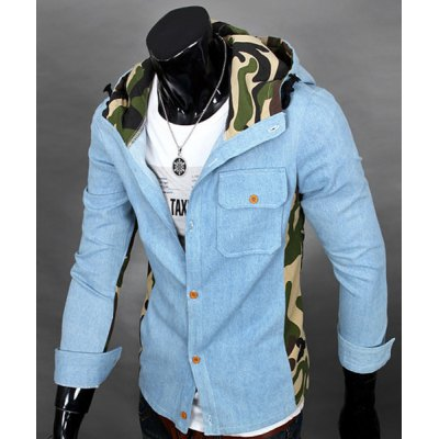 Гаджет   Vogue Camo Spliced Patch Pocket Color Block Slimming Hooded Long Sleeves Men