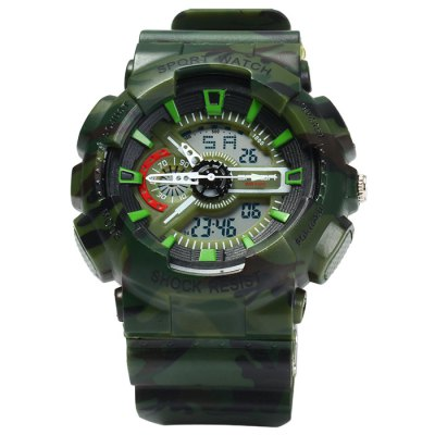 Sanda 299 Men LED Sports WatchSports Watches<br>Sanda 299 Men LED Sports Watch<br><br>Brand: Sanda<br>People: Male table<br>Watch style: Outdoor Sports, LED<br>Available color: Red, Gray, Green, Army Green<br>Shape of the dial: Round<br>Movement type: Double-movtz<br>Display type: Analog-Digital<br>Hour formats: 12/24 Hour<br>Case material: PC<br>Band material: Rubber<br>Clasp type: Pin buckle<br>Special features: EL Back-light, Day, Date, Alarm clock, Stopwatch<br>Water resistance: 30 meters<br>The dial thickness: 1.5 cm / 0.59 inches<br>The dial diameter: 5.0 cm / 1.97 inches<br>The band width: 2.2 cm / 0.9 inches<br>Wearable length: 15.5 - 22 cm / 6.1 - 8.66 inches<br>Product weight: 0.052 kg<br>Package weight: 0.102 kg<br>Product size (L x W x H) : 25.5 x 5 x 1.5 cm / 10.02 x 1.97 x 0.59 inches<br>Package size (L x W x H): 26.5 x 6 x 2.5 cm / 10.41 x 2.36 x 0.98 inches<br>Package contents: 1 x Sanda 299 Watch, 1 x Chinese and English Manual