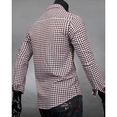 Гаджет   Simple Shirt Collar Color Block Plaid Print Long Sleeves Men