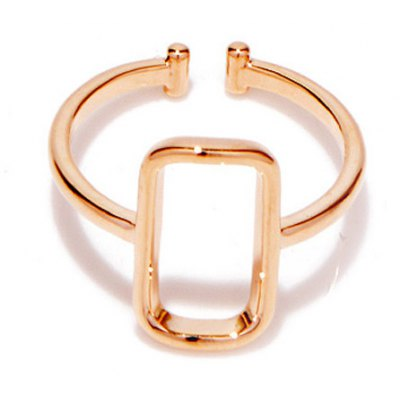 Chic Solid Color Hollow Out Rectangle Women's Cuff Ring