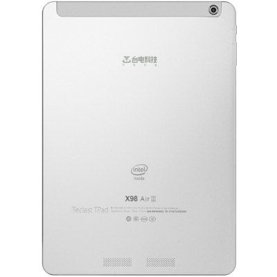 Teclast X98 Air III Tablet PC 64GB ROM - TeclastTablet PCs<br>Teclast X98 Air III Tablet PC 64GB ROM<br><br>Brand: Teclast<br>Type: Tablet PC<br>OS: Android 5.0, Android 5.0, Windows 10<br>CPU Brand: Intel<br>CPU: Z3735F<br>GPU: Intel HD Graphic(Gen7)<br>Core: Quad Core, 1.83GHz<br>RAM: 2GB<br>ROM: 64GB<br>External memory: TF card up to 128GB (not included)<br>Support Network: WiFi<br>WiFi: 802.11b/g/n wireless internet<br>Bluetooth: Yes<br>Screen type: IPS, Retina, Capacitive (10-Point)<br>Screen size: 9.7 inch<br>Screen resolution: 2048 x 1536 (QXGA)<br>Camera type: Dual cameras (one front one back)<br>Back camera: 5.0MP<br>Front camera: 2.0MP<br>TF Card Slot: Yes<br>Micro USB Slot: Yes<br>Micro HDMI: Yes<br>3.5mm Headphone Jack: Yes<br>Battery Capacity: 8000mAh<br>Battery / Run Time (up to): 8 hours video playing time<br>AC adapter: 100-240V 5V 2.5A<br>G-sensor: Supported<br>Skype: Supported<br>Youtube: Supported<br>Speaker: Supported<br>MIC: Supported<br>Picture format: PNG, JPEG, GIF, BMP<br>Music format: AAC, MP3, WAV<br>Video format: MP4, AVI, 3GP<br>MS Office format: Word, Excel, PPT<br>E-book format: TXT, PDF<br>3D Games: Supported<br>Languages: Dutch, Russian, German, Italian, English, French, Portuguese, Spanish<br>Note: If you need any specific language other than English and you must leave us a message when you checkout<br>Additional Features: MP3, HDMI, MP4, Wi-Fi, Sound Recorder, Bluetooth, Calendar, E-book, OTG, Calculator, Browser, Gravity Sensing System<br>Product size: 24.0 x 16.9 x 0.82 cm / 9.43 x 6.64 x 0.32 inches<br>Package size: 30.2 x 20.2 x 3.4 cm / 11.87 x 7.94 x 1.34 inches<br>Product weight: 0.527 kg<br>Package weight: 0.984 kg<br>Tablet PC: 1<br>OTG Cable: 1<br>Charger: 1<br>USB Cable: 1<br>User Manual: 1