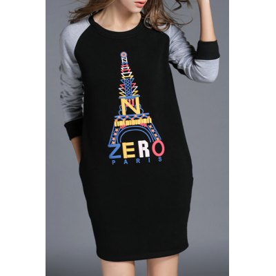ФОТО Casual Style Round Neck Long Sleeve Letter Tower Pattern Women