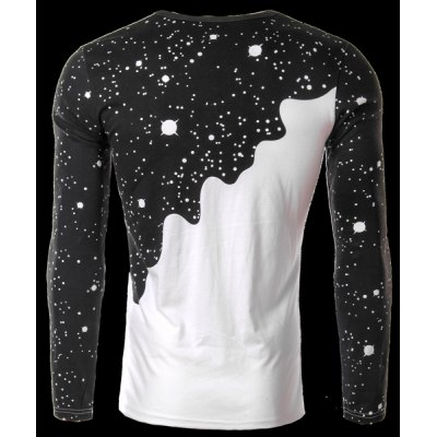 Гаджет   Round Neck 3D Starry and Pour Milk Print Long Sleeve Men