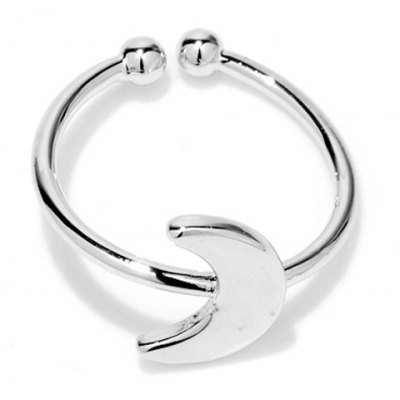 Simple Style Solid Color Moon Shape Cuff Ring For Women