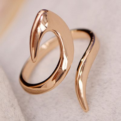Trendy Solid Color Streamline Cuff Ring For Women