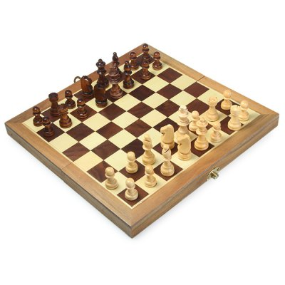 32Pcs Wooden Chess Chessboard Box IQ Training Game Fun Game