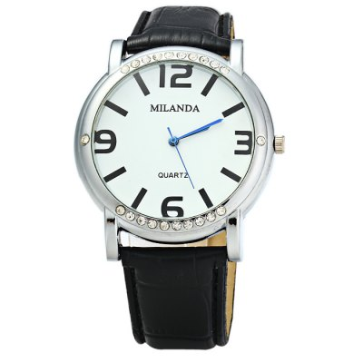 MILANDA Female Diamond Quartz Watch with Leather BandWomens Watches<br>MILANDA Female Diamond Quartz Watch with Leather Band<br><br>Brand: MILANDA<br>Watches categories: Female table<br>Available color: White, Pink, Green, Plum, Black<br>Style: Fashion&amp;Casual<br>Movement type: Quartz watch<br>Shape of the dial: Round<br>Display type: Analog<br>Case material: Stainless steel<br>Band material: Leather<br>Clasp type: Pin buckle<br>The dial thickness: 0.7 cm / 0.28 inches<br>The dial diameter: 4.0 cm / 1.57 inches<br>The band width: 1.8 cm / 0.71 inches<br>Wearable length: 17 - 21 cm / 6.69 - 8.27 inches<br>Product weight: 0.043 kg<br>Package weight: 0.093 kg<br>Product size (L x W x H) : 24 x 4 x 0.7 cm / 9.43 x 1.57 x 0.28 inches<br>Package size (L x W x H): 25 x 5 x 1.7 cm / 9.83 x 1.97 x 0.67 inches<br>Package contents: 1 x MILANDA Watch