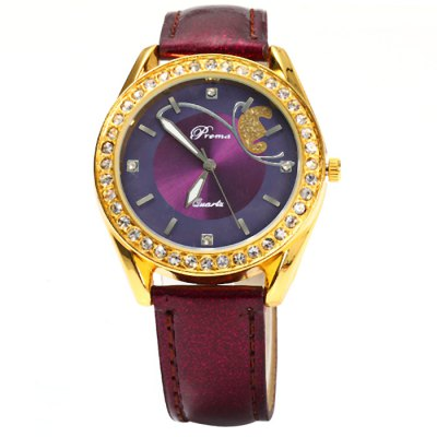 Prema Glossy Leather Strap Diamond Women Quartz WatchWomens Watches<br>Prema Glossy Leather Strap Diamond Women Quartz Watch<br><br>Brand: Prema<br>Watches categories: Female table<br>Available color: Red, Purple<br>Style : Fashion&amp;Casual<br>Movement type: Quartz watch<br>Shape of the dial: Round<br>Display type: Analog<br>Case material: Stainless steel<br>Band material: Leather<br>Clasp type: Pin buckle<br>The dial thickness: 0.6 cm / 0.24 inches<br>The dial diameter: 3.8 cm / 1.5 inches<br>The band width: 1.6 cm / 0.6 inches<br>Wearable length: 17 - 21 cm / 6.69 - 8.27 inches<br>Product weight: 0.027 kg<br>Package weight: 0.077 kg<br>Product size (L x W x H) : 23.5 x 3.8 x 0.6 cm / 9.24 x 1.49 x 0.24 inches<br>Package size (L x W x H): 24.5 x 4.8 x 1.6 cm / 9.63 x 1.89 x 0.63 inches<br>Package contents: 1 x Prema Watch