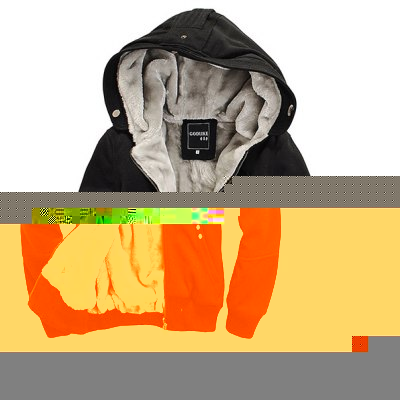Multi-Button Patch Pocket Zipper Design Slimming Hooded Long Sleeves Men's Flocky Hoodie