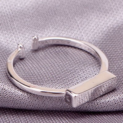 Trendy Solid Color Cuboid Shape Cuff Ring For Women