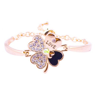 Fresh Style Rhinestone Four Leaf Clover Bracelet For Women