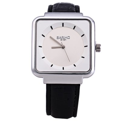 BARIHO K101 Glossy Leather Strap Men Quartz WatchMens Watches<br>BARIHO K101 Glossy Leather Strap Men Quartz Watch<br><br>Brand: Bariho<br>Watches categories: Male table<br>Watch style: Fashion<br>Available color: Black, White, Brown<br>Movement type: Quartz watch<br>Shape of the dial: Square<br>Display type: Analog<br>Case material: Stainless steel<br>Band material: Leather<br>Clasp type: Pin buckle<br>The dial thickness: 0.7 cm / 0.28 inches<br>The dial diameter: 3.6 cm / 1.41 inches<br>The band width: 1.0 cm / 0.39 inches<br>Wearable length: 16 - 21 cm / 6.3 - 8.27 inches<br>Product weight: 0.043 kg<br>Package weight: 0.093 kg<br>Product size (L x W x H): 23.5 x 3.6 x 0.7 cm / 9.24 x 1.41 x 0.28 inches<br>Package size (L x W x H): 24.5 x 4.6 x 1.7 cm / 9.63 x 1.81 x 0.67 inches<br>Package contents: 1 X BARIHO K101 Watch