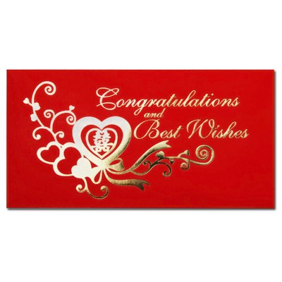 5 x Congratulations and Best Wishes Pattern 1 Wedding Spring Festival Red Envelope 90 x 170mm
