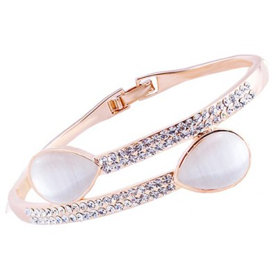 Sweet Faux Opal Rhinestoned Waterdrop Bracelet For Women