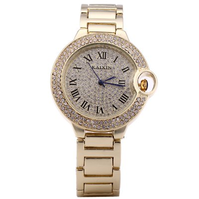 KAIXIN Steel Strap Lady Diamond Quartz WatchWomens Watches<br>KAIXIN Steel Strap Lady Diamond Quartz Watch<br><br>Brand: KAIXIN<br>Watches categories: Female table<br>Available color: Gold, Silver, Rose Gold<br>Style : Fashion&amp;Casual<br>Movement type: Quartz watch<br>Shape of the dial: Round<br>Display type: Analog<br>Case material: Stainless steel<br>Band material: Steel<br>Clasp type: Sheet folding clasp<br>The dial thickness: 0.8 cm / 0.31 inches<br>The dial diameter: 4.0 cm / 1.57 inches<br>The band width: 1.7 cm / 0.67 inches<br>Product weight: 0.090 kg<br>Package weight: 0.14 kg<br>Product size (L x W x H) : 22 x 4 x 0.8 cm / 8.65 x 1.57 x 0.31 inches<br>Package size (L x W x H): 23 x 5 x 1.8 cm / 9.04 x 1.97 x 0.71 inches<br>Package contents: 1 x KAIXIN Watch
