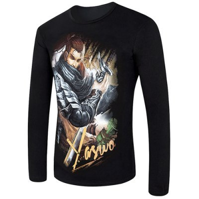 Vogue Round Neck 3D Animal Figure Print Fitted Long Sleeves Men