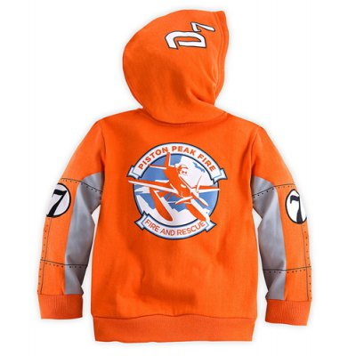 Stylish Long Sleeve Hooded Air Attack Pattern Boy's Coat