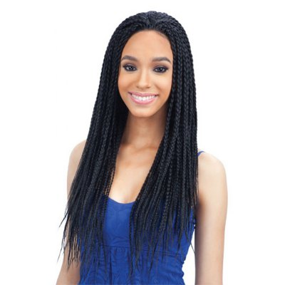 Attractive Long Synthetic Full Hand Tied Trendy Black Three-Ply Braids Lace Front Wig For Women