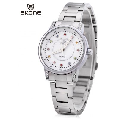 SKONE 7317 Colored Rhinestone Dial Scale Women Quartz Watch Shell Dial