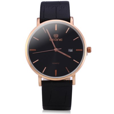 SKONE 9400 Ultrathin Calendar Male Quartz Watch with Leather StrapMens Watches<br>SKONE 9400 Ultrathin Calendar Male Quartz Watch with Leather Strap<br><br>Brand: Skone<br>Watches categories: Male table<br>Watch style: Fashion<br>Movement type: Quartz watch<br>Shape of the dial: Round<br>Display type: Analog<br>Case material: Alloy<br>Band material: Leather<br>Clasp type: Pin buckle<br>Band color: Black,Brown,White<br>Special features: Date<br>Water resistance : Life water resistant<br>The dial thickness: 0.7 cm / 0.28 inches<br>The dial diameter: 4 cm / 1.57 inches<br>The band width: 1.8 cm / 0.71 inches<br>Wearable length: 17.5 - 21.5 cm / 6.89 - 8.46 inches<br>Product weight: 0.038 kg<br>Package weight: 0.048 kg<br>Package size (L x W x H): 6.20 x 27.50 x 1.70 cm / 2.44 x 10.83 x 0.67 inches<br>Package Contents: 1 x SKONE 9400 Genuine Leather Calendar Watch