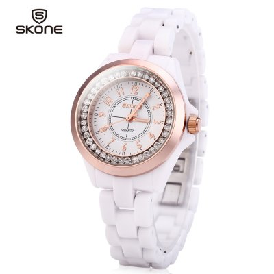 SKONE 7243 Ceramic Rhinestone Embedded Quartz Women Watch