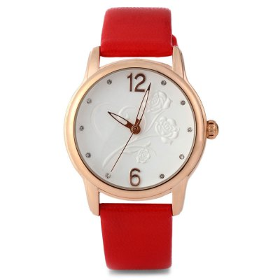 SKONE 5085 Women Quartz Rhinestone Number Stereo Rose Dial Wrist Watch - SkoneWomens Watches<br>SKONE 5085 Women Quartz Rhinestone Number Stereo Rose Dial Wrist Watch<br><br>Brand: Skone<br>Watches categories: Female table<br>Available color: White, Red, Champagne, Black<br>Style : Hollow out<br>Movement type: Quartz watch<br>Shape of the dial: Round<br>Display type: Analog<br>Case material: Alloy<br>Case color: Gold<br>Band material: PU leather<br>Clasp type: Pin buckle<br>The dial thickness: 1 cm / 0.39 inches<br>The dial diameter: 3.5 cm / 1.38 inches<br>The band width: 1.6 cm / 0.63 inches<br>Wearable length: 17.5 - 21.5 cm / 6.89 -8.46 inches<br>Product weight: 0.038 kg<br>Package weight: 0.047 kg<br>Package size (L x W x H): 5.5 x 27.5 x 2 cm / 2.16 x 10.81 x 0.79 inches<br>Package contents: 1 x SKONE 5085 Stereo Rose Dial Women Watch