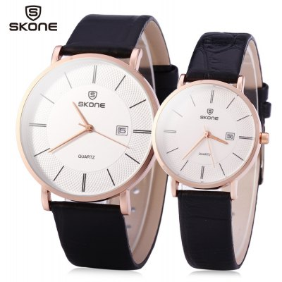 SKONE 9307 Retro Quartz Couple Watch with PU Leather Strap
