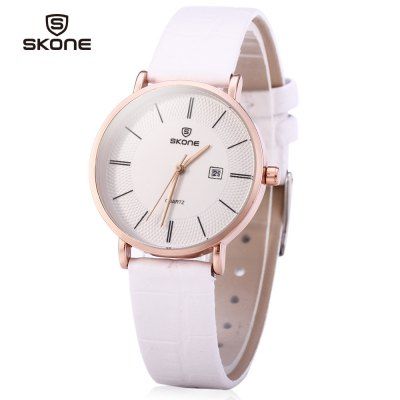 SKONE 9307 Female Ultrathin Quartz Leather Watch