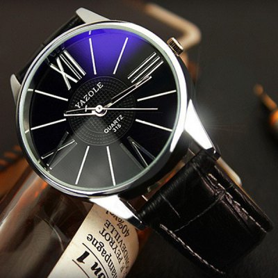 Yazole 315 Male Quartz Watch with Leather Band