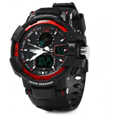 Skmei 1040 Double Movt LED Sports Watch Military Army Wristwatch with Alarm Week Chronograph Function 50M Water Resistant