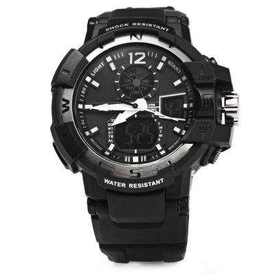 Skmei 1040 Double Movt LED Sports Watch Military Army Wristwatch with Alarm Week Chronograph Function 50M Water ResistantSports Watches<br>Skmei 1040 Double Movt LED Sports Watch Military Army Wristwatch with Alarm Week Chronograph Function 50M Water Resistant<br><br>Brand: Skmei<br>People: Unisex table<br>Watch style: Fashion&amp;Casual,Outdoor Sports,LED,Military<br>Available color: Black,Blue,Green<br>Shape of the dial: Round<br>Movement type: Double-movtz<br>Display type: Analog-Digital<br>Surface material: Resin<br>Case material: PC<br>Band material: PU<br>Clasp type: Pin buckle<br>Special features: Alarm Clock,Light,Week,Stopwatch<br>Water resistance : 50 meters<br>Battery Type: CR2016/SR626SW<br>The dial thickness: 1.5 cm / 0.6 inches<br>The dial diameter: 4.5 cm / 1.8 inches<br>The band width: 2.2 cm / 0.9 inches<br>Product weight: 0.054 kg<br>Product size (L x W x H): 27 x 4.5 x 1.5 cm / 10.6 x 1.8 x 0.6 inches<br>Package Contents: 1 x Watch