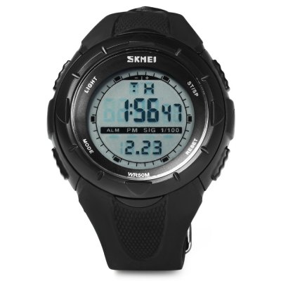 Skmei 1025 Multi - function LED Military Army Watch 50M Water Resistant for SportsSports Watches<br>Skmei 1025 Multi - function LED Military Army Watch 50M Water Resistant for Sports<br><br>Brand: Skmei<br>People: Unisex table<br>Watch style: Fashion&amp;Casual, Military, Outdoor Sports, LED<br>Available color: Black, Green<br>Shape of the dial: Round<br>Movement type: Digital watch<br>Display type: Digital<br>Case material: PC<br>Band material: PU<br>Clasp type: Pin buckle<br>Special features: EL Back-light, Date, Week, Alarm clock, Stopwatch<br>Water Resistance: 50 meters<br>The dial thickness: 1.5 cm / 0.59 inches<br>The dial diameter: 4.0 cm / 1.57 inches<br>The band width: 1.7 cm / 0.67 inches<br>Product weight: 0.041 kg<br>Package weight: 0.045 kg<br>Product size (L x W x H) : 21.5 x 4 x 1.5 cm / 8.45 x 1.57 x 0.59 inches<br>Package size (L x W x H): 22.5 x 5 x 2.5 cm / 8.84 x 1.97 x 0.98 inches<br>Package contents: 1 x Watch