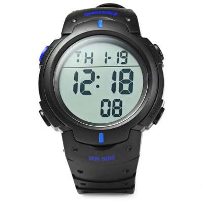 Skmei 1068 LED Digital Military Watch Water Resistant Alarm Day Date Stopwatch for SportsSports Watches<br>Skmei 1068 LED Digital Military Watch Water Resistant Alarm Day Date Stopwatch for Sports<br><br>Brand: Skmei<br>People: Unisex table<br>Watch style: Fashion&amp;Casual,Outdoor Sports,LED,Military<br>Available color: Black<br>Shape of the dial: Round<br>Movement type: Digital watch<br>Display type: Digital<br>Case material: PC<br>Band material: PU<br>Clasp type: Pin buckle<br>Special features: EL Back-light,Alarm Clock,Day,Date,Stopwatch<br>Water resistance : 50 meters<br>The dial thickness: 1.5 cm / 0.59 inches<br>The dial diameter: 5.1 cm / 2.00 inches<br>Product weight: 0.050 kg<br>Package weight: 0.100 kg<br>Product size (L x W x H): 21 x 5.1 x 1.5 cm / 8.25 x 2.00 x 0.59 inches<br>Package size (L x W x H): 22 x 6.2 x 2.5 cm / 8.65 x 2.44 x 0.98 inches<br>Package Contents: 1 x Skmei 1068 Watch