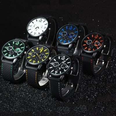 Military Style Men Quartz WatchMens Watches<br>Military Style Men Quartz Watch<br><br>Watches categories: Male table<br>Watch style: Trends in outdoor sports<br>Style elements: Big dial<br>Available color: Black,White,Blue,Green,Orange,Yellow<br>Movement type: Quartz watch<br>Shape of the dial: Round<br>Display type: Analog<br>Case material: Stainless Steel<br>Case color: Black<br>Band material: Silicone<br>Clasp type: Pin buckle<br>Band color: Black<br>Special features: Decorating small three stitches<br>The dial thickness: 0.8 cm / 0.31 inches<br>The dial diameter: 4.3 cm / 1.69 inches<br>The band width: 2.2 cm / 0.87 inches<br>Wearable length: 19.5 - 23.5 cm / 7.68 - 9.25<br>Product weight: 0.052 kg<br>Package weight: 0.090 kg<br>Product size (L x W x H): 25.5 x 4.4 x 0.8 cm / 10.02 x 1.73 x 0.31 inches<br>Package size (L x W x H): 27 x 6 x 2 cm / 10.61 x 2.36 x 0.79 inches<br>Package Contents: 1 x Car Racing Military Style Male Quartz Watch Silicone Watch Band with Number Indicate