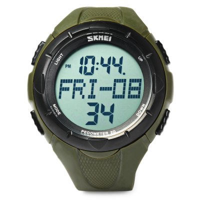 Skmei 1122 LED Sports Men Wrist WatchMens Watches<br>Skmei 1122 LED Sports Men Wrist Watch<br><br>Watches categories: Male table<br>Watch style: Trends in outdoor sports<br>Style elements: LED<br>Available color: Black,Green<br>Movement type: Digital watch<br>Shape of the dial: Round<br>Display type: Digital<br>Hour formats: 12/24 Hour<br>Case material: PC<br>Case color: Black,Green<br>Band material: PU<br>Clasp type: Pin buckle<br>Band color: Black,Green<br>Special features: Alarm Clock,Month,Day,Date,Week,Stopwatch,Pedometer,Luminous<br>Water resistance : 50 meters<br>The dial thickness: 1.4 cm / 0.55 inches<br>The dial diameter: 5.1 cm / 2.01 inches<br>The band width: 2 cm / 0.79 inches<br>Wearable length: 17 - 22.5 cm / 6.69 - 8.86 inches<br>Product weight: 0.055 kg<br>Package weight: 0.06 kg<br>Product size (L x W x H): 25 x 5.1 x 1.4 cm / 9.83 x 2.00 x 0.55 inches<br>Package size (L x W x H): 26 x 6.1 x 2.4 cm / 10.22 x 2.40 x 0.94 inches<br>Package Contents: 1 x Skmei 1122 Sports Men Watch