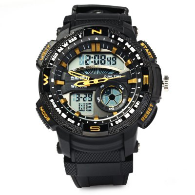 Skmei 1109 Double Movt Sports Digital WatchSports Watches<br>Skmei 1109 Double Movt Sports Digital Watch<br><br>Brand: Skmei<br>Watches categories: Male table<br>Watch style: Trends in outdoor sports<br>Style elements: Big dial<br>Available color: Orange, Gold, Silver, Red, Blue<br>Movement type: Quartz + digital watch<br>Shape of the dial: Round<br>Display type: Analog-Digital<br>Hour formats: 12/24 Hour<br>Case material: PC<br>Band material: PU<br>Clasp type: Pin buckle<br>Band color: Black<br>Special features: Decorating small sub-dials, Calendar, Luminous, Date, Week, Alarm clock, Stopwatch<br>Water Resistance: 50 meters<br>The dial thickness: 1.6 cm / 0.63 inches<br>The dial diameter: 5 cm / 1.97 inches<br>The band width: 2.1 cm / 0.83 inches<br>Wearable Length:: 18 - 24 cm / 7.09 - 9.45 inches<br>Product weight: 0.074 kg<br>Package weight: 0.079 kg<br>Product size (L x W x H): 26 x 5 x 1.6 cm / 10.22 x 1.97 x 0.63 inches<br>Package size (L x W x H): 27 x 6 x 2.6 cm / 10.61 x 2.36 x 1.02 inches<br>Package Contents: 1 x Skmei 1109 Double Movt Sports Watch