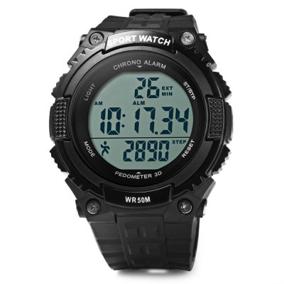 Skmei 1112 3D Pedometer Sports WatchSports Watches<br>Skmei 1112 3D Pedometer Sports Watch<br><br>Brand: Skmei<br>Watches categories: Male table<br>Watch style: Trends in outdoor sports<br>Style elements: LED<br>Available color: Black,Green<br>Movement type: Digital watch<br>Shape of the dial: Round<br>Display type: Digital<br>Hour formats: 12/24 Hour<br>Case material: PC<br>Band material: PU<br>Clasp type: Pin buckle<br>Band color: Black,Green<br>Special features: Calendar,Alarm Clock,Stopwatch,Pedometer<br>Water resistance : 50 meters<br>The dial thickness: 1.5 cm / 0.59 inches<br>The dial diameter: 4.5 cm / 1.77 inches<br>The band width: 2 cm / 0.79 inches<br>Wearable length: 15 - 21 cm / 5.91 - 8.27 inches<br>Product weight: 0.047 kg<br>Package weight: 0.051 kg<br>Product size (L x W x H): 23 x 4.5 x 1.5 cm / 9.04 x 1.77 x 0.59 inches<br>Package size (L x W x H): 24 x 5.5 x 2.5 cm / 9.43 x 2.16 x 0.98 inches<br>Package Contents: 1 x Skmei 1112 3D Pedometer Digital Watch